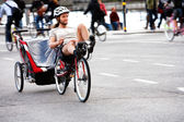 Recumbent with trailer — Stock Photo