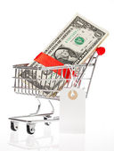 Shoping cart with money — Stock Photo