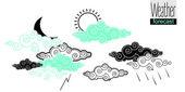 Set of contrast weather vector drawings — Vector de stock