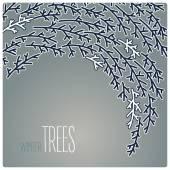 Flying tree , card vector illustration with dark gray background — Zdjęcie stockowe