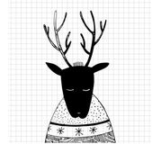 Vector illustration with new year deer — Stock Photo