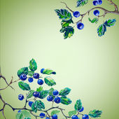 Watercolor composition set with berries — Stock Photo