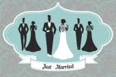 Wedding Set card - Just Married — Vector de stock