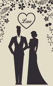 Wedding Set card - Just Married — Vetor de Stock