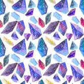 Seamless pattern with Watercolor crystals with star sky — Stock Photo
