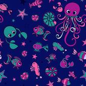Marine doodle pattern — Stock Vector