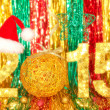 2015 New year christmas tree handmade decorations, celebration, colorful, sparkles. Sparkling figures with Santa hat, stars, streamers, ribbons on shiny multi colored background — Stock Photo #57404127