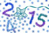 New Year 2015 decoration. Closeup colorful snowflakes — Stock Photo