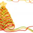 New Year 2015. Christmas tree made of beads on white background — Stock Photo #57934545