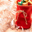 New Year 2015 decoration. Christmas, Santa Claus sack of presents on silver background — Stockfoto #58158749
