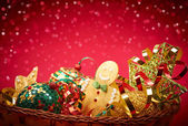 New Year 2015 Christmas decoration, handmade in basket — Foto Stock