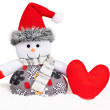 New Year 2015. Snowman with handmade red heart — Stock Photo #58962103