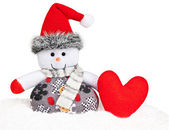 New Year 2015. Snowman with handmade red heart — Stock Photo