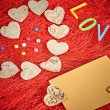 Valentines day. Hearts made of bark on Red sisal. Love — Stock Photo #59388925