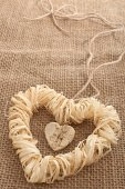 Valentines Day. Handmade Hearts from bark and straw  — Stock Photo
