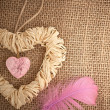 Valentines Day. Handmade Hearts from bark and straw — Stock Photo #59628199