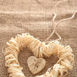 Valentines Day. Handmade Hearts made of bark and straw — Stock Photo #59628361