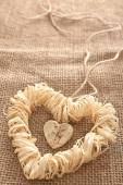 Valentines Day. Handmade Hearts made of bark and straw  — 图库照片