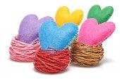 Valentine's Day. Handmade Hearts in nest. Love concept. — Stock Photo