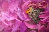 День Святого Валентина. Сердце из виноградной лозы в перья. Концепция любви. — Стоковое фото