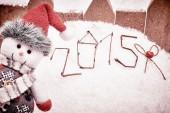 New Year 2015. Christmas. Happy snowman, Retro on snow — Stock Photo