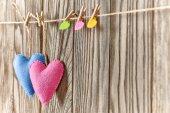 Valentines Day. Hearts Handmade Couple. Love concept. — Foto de Stock