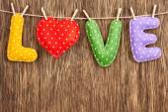 Valentines Day. Word Love, Heart Handmade. Vintage style. Love concept. — Zdjęcie stockowe