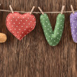 Valentines Day. Word Love, Heart Handmade. Vintage style. Love concept. — Stock Photo #60652633