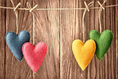 Valentines Day. Hearts Handmade Couple. Love concept. Retro — Foto Stock