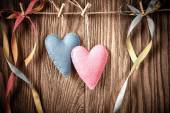 Valentines Day. Hearts Handmade Couple. Vintage style. Love concept — Stockfoto