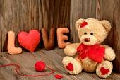 Valentines Day. Teddy Bear Loving. Hearts, Handmade word Love. Retro. — Stock Photo