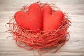 Valentines Day. Handmade Hearts Couple in Red nest. Love concept — Stockfoto
