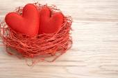 Valentines Day. Handmade Hearts Couple in Red nest. Love concept — Foto Stock