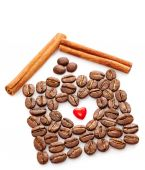 Coffee Beans, Heart, Cinnamon sticks on white background — Stock Photo