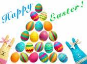 Easter Bunnies el yapımı ve beyaz zemin üzerine boyalı yumurta — Stok fotoğraf