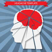 Headache. Silhouette of human head with red brain — Stock Vector
