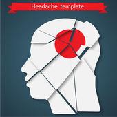 Vector illustration of headache, migraine or psychology concept — Stock Vector