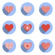 Heart Icons Set, ideal for valentines day and wedding — Stock Vector #62188455