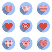 Heart Icons Set, ideal for valentines day and wedding — Stock Vector