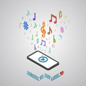 Mobile smartphone music services isometric style vector illustra — Vecteur