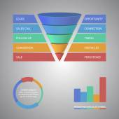 Sales funnel template for your business presentation — Stock Vector