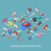 Flat 3d web isometric online safety, data protection — Stockvektor