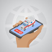 Ambulance car icon in the hand flat design isometric style, vect — Stock Vector