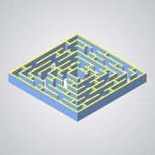 Vector illustration of maze.Isometric labyrinth flat style — Stock Vector