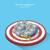 Money management financial goal flat style isometric — Stock Vector