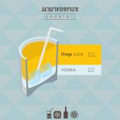 Screwdriver cocktail flat style isometric illustration with icon — Stock Vector