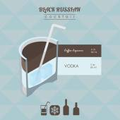 Black Russian cocktail flat style isometric illustration with ic — Stock Vector