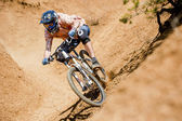 Mountainbiker Desert Bike Downhill Sand — Stock Photo