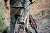 Mountainbiker Winter Bike — Stock Photo