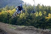 Mountainbiker Jump Freeride Extreme — Stock Photo